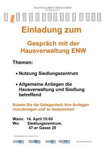 Einladg Nutzung siedlungszentrum Diskussion mit ENW